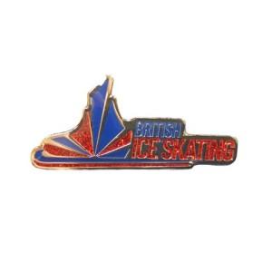 British Ice Skating 38mm Soft Enamel Badge With Glitter